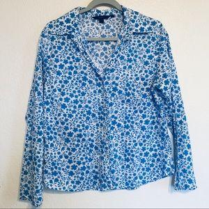 Boden Floral Blue button down blouse ruffle hem